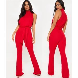 PrettyLittleThing Scuba High Neck Jumpsuit Red NWT